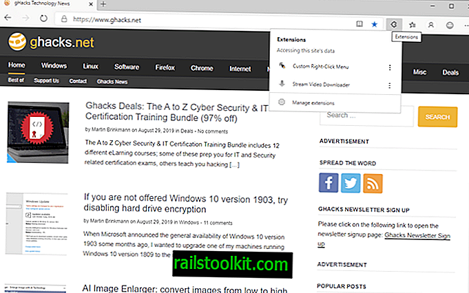 Como adicionar um menu de extensões ao Microsoft Edge (Chromium)