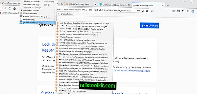 Livemarks palauttaa Live Bookmarks -tuen Firefoxissa