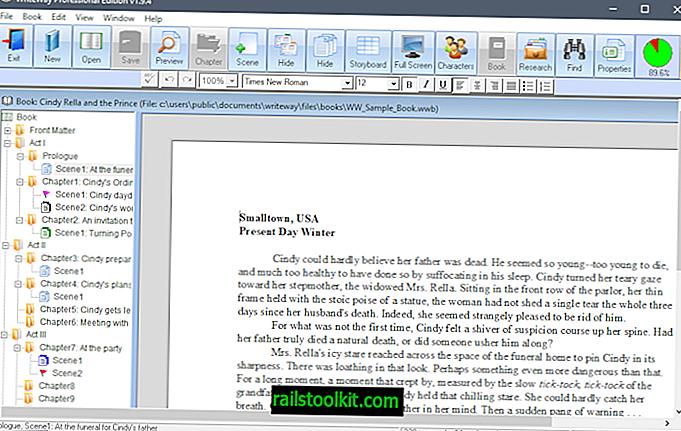 WriteWay Pro: besplatni softver za pisanje knjiga