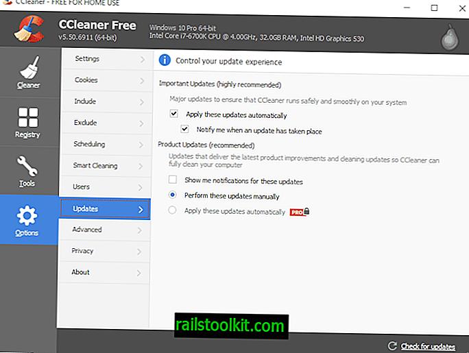 프로그램 업데이트를 제어하는 새로운 옵션이있는 CCleaner 5.50