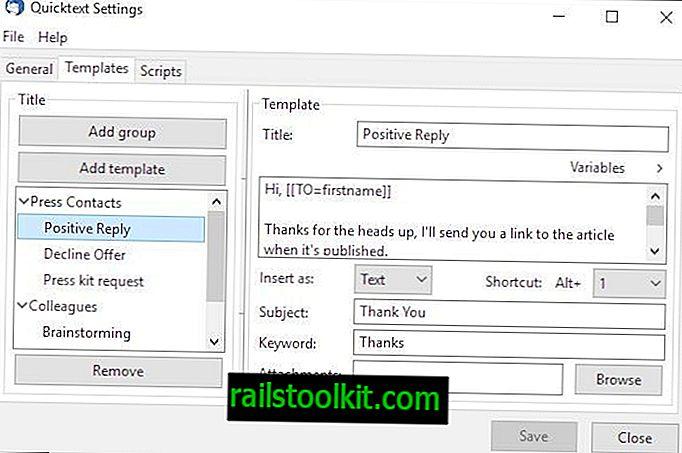 Quicktext za Thunderbird omogućava vam da kreirate predloške e-pošte i dodate ih u svoju e-poštu u sekundi