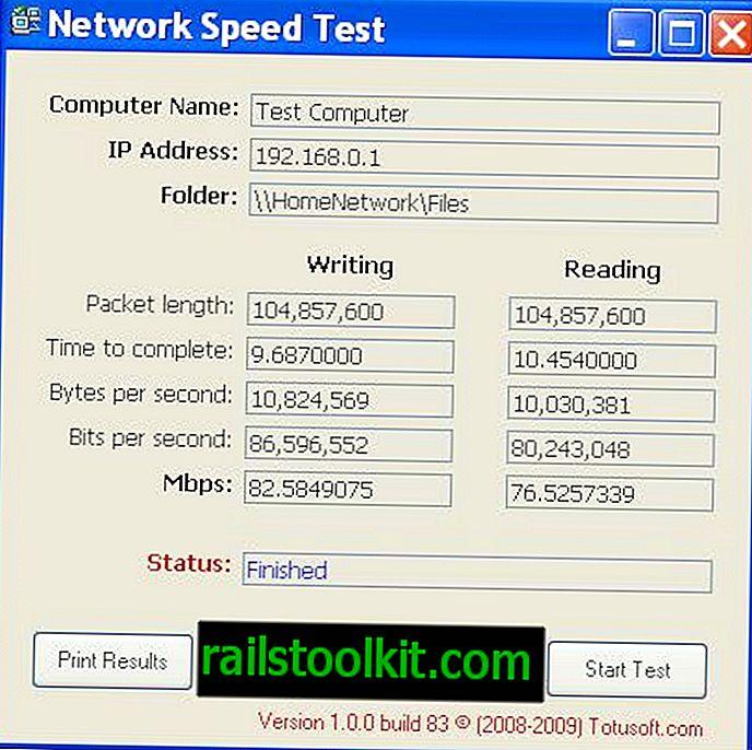 Vietinio tinklo greičio testas
