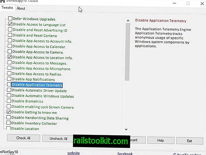 DoNotSpy10 - กำหนดการตั้งค่าความเป็นส่วนตัวของ Windows 10