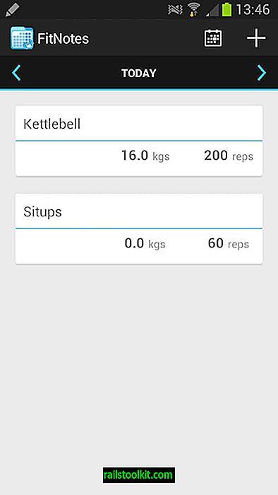 Udržujte si protokol tréninku v tělocvičně s FitNotes pro Android