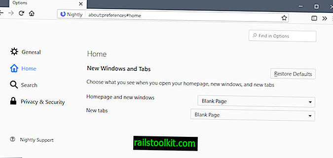 Mozilla može premjestiti postavke Firefox stranice nove kartice na početnu stranicu postavki
