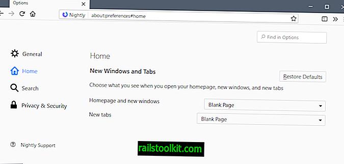 Mozilla가 Firefox 새 탭 페이지 설정을 홈 환경 설정 페이지로 이동할 수 있습니다