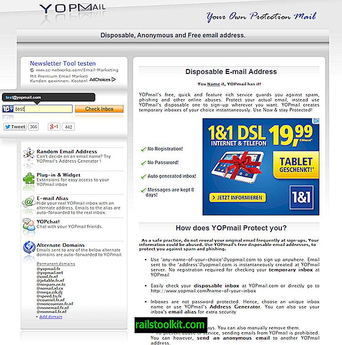 Engangs-e-postadressetjeneste Yopmail