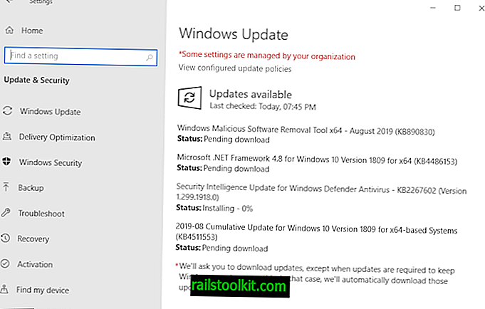Descripción general de las actualizaciones de seguridad de Microsoft Windows de agosto de 2019