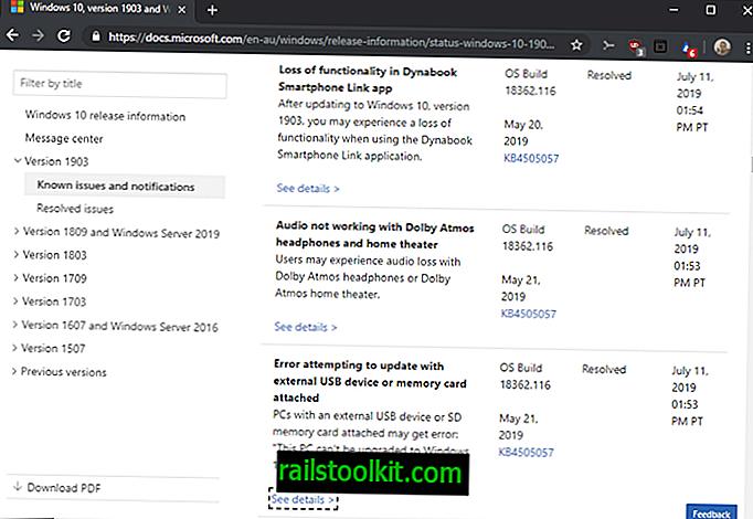 Windows 10 버전 1903 : 일부 업그레이드 블록 해제 및 새로운 문제