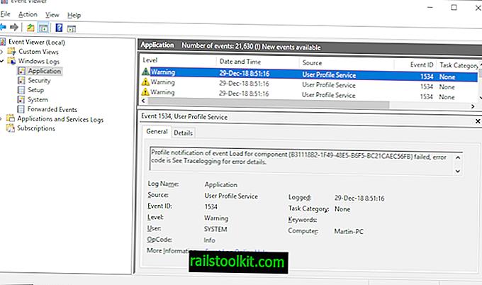 Windows 10: Warnungen zur Benutzerprofildienst-Ereignis-ID 1534