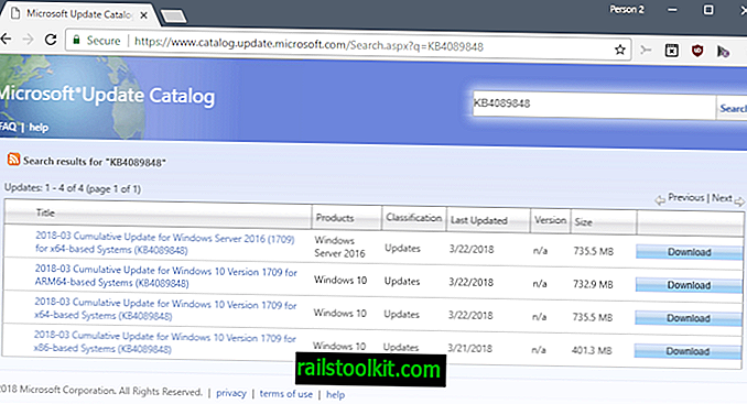 KB4089848 pour Windows 10 version 1709