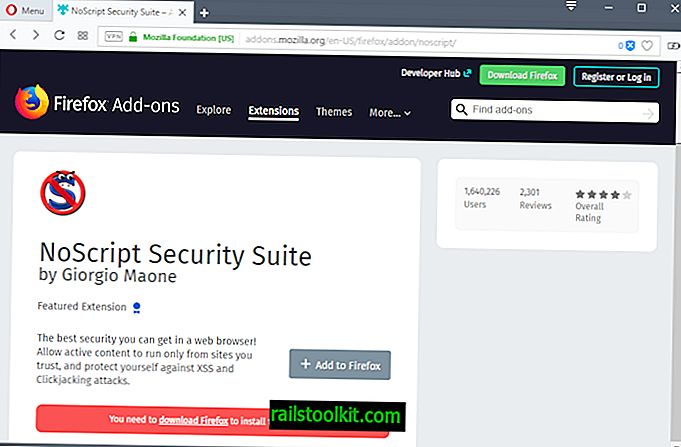 Kedudukan NoScript jatuh selepas pelepasan Firefox Quantum