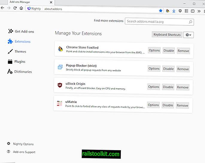Upravljanje bližnjic na tipkovnici Firefox za približno: addons