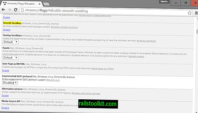 Kako isključiti glatko pomicanje u pregledniku Google Chrome