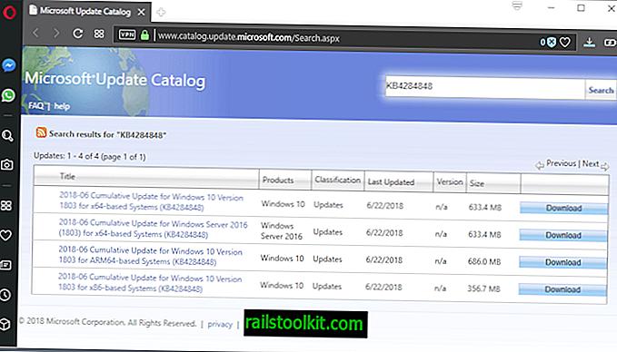Microsoft, Windows 10 버전 1803 용 KB4284848 출시