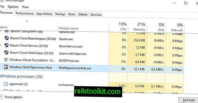 Fix Windows Shell Experience Host-processen ved hjælp af for meget hukommelse / CPU