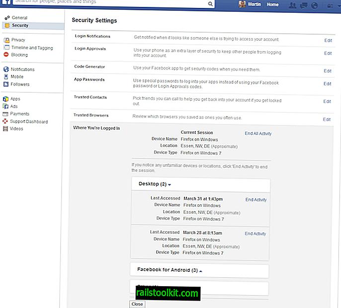 Bagaimana untuk log keluar dari Facebook dan Google pada peranti lain