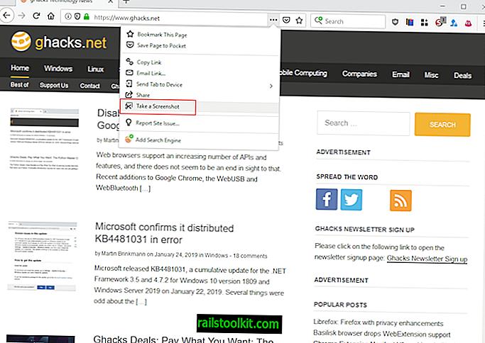 Mozilla per rimuovere la funzionalità di caricamento degli screenshot di Firefox