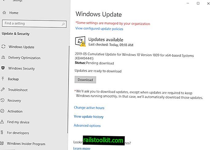 KB4494441 สำหรับ Windows 10 เวอร์ชัน 1809 อาจติดตั้งสองครั้ง