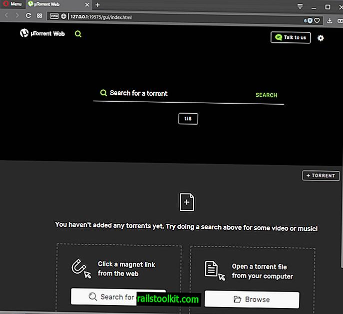 uTorrent Web wird gestartet