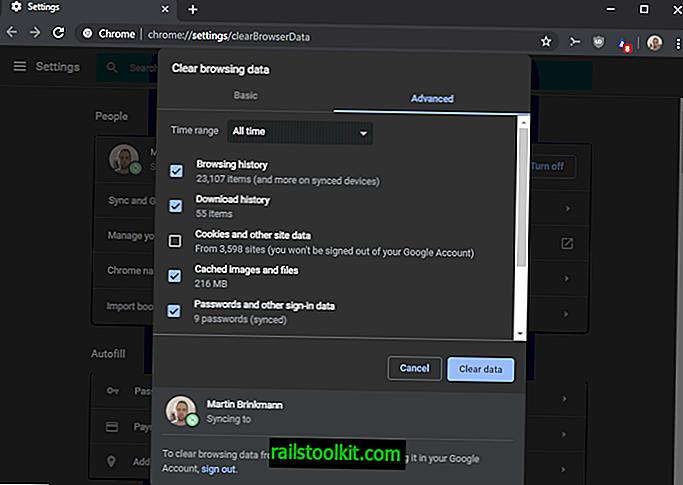 Chrome-virhe, joka estää selaushistorian tyhjentymisen