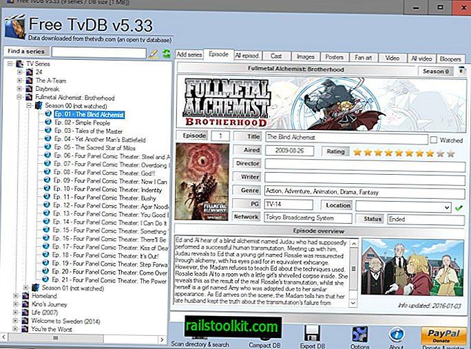 Hallitse TV-sarjasta kokoelmaa ilmaisella TvDB: llä