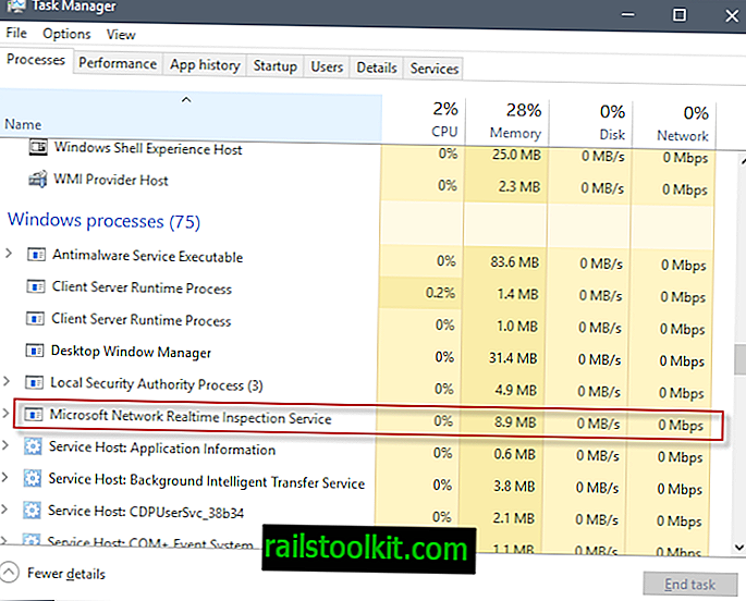 Informacije o Microsoftovi omrežni službi za pregled v realnem času (NisSrv.exe)